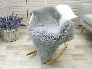 Real Grey Swedish Curly Mongolian Sheepskin Rug Dyed Soft Sofa Floor Chair Cover