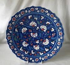 Large 25cm Diameter Getioglu Gisi Hand Made Plate with Stand Xutahya Turkey