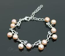 STUNNING RARE PEACH PEARL CLEAR CZ STERLING SILVER PLATED WEDDING BRACELET