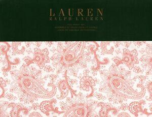Ralph Lauren Full Sheet Set Monaco Coral Paisley Floral 4pc Cottage Boho Chic
