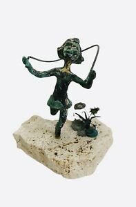 Little  Girl Jumping Rope Small Bronze Sculpture Mounted on Rock Flowers