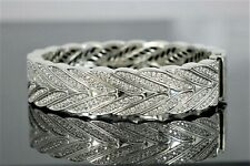 $7950 Men's 17mm John Hardy Silver Pave Set Diamond Modern Chain Bangle Bracelet