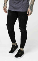 Sik Silk Mens Super Skinny Stretch Freyed Distress Stylish Black Denim Jeans