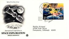 1992 COMMERATIVE SPACE EXPLORATION TWO STAMP COVER PCS CACHET MACHINE ADDR FDC