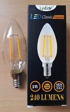 4 x 2w LED Clear Candle Filament Light Bulbs Lamp SES Small Screw In E14 25w