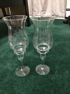 Princess House 2 Crystal Hurricane Lamps Heritage Candle Holders