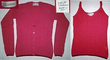Twin set cachemire seta lana, cardigan e top rosso lampone