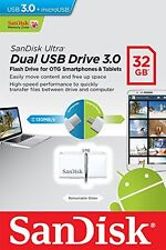 Pendrive Sandisk Dual Drive 32 GB USB 3.0 y MicroUSB Movil Tablet Memoria Blanco