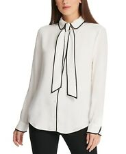 BNWT DKNY Piped-Trim Button-Up Blouse in White Size M
