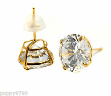 New Stud Earrings Solid 14k Real Yellow Gold and Round Cubic Zirconia  CZ 9mm