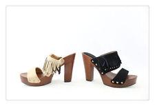 zoccoli donna  legno donna estate  scarpe tacco alto plateau frange nero cuoio