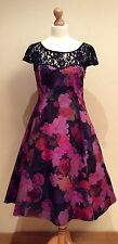 PHASE EIGHT BLACK FLORAL DRESS SIZE 12 LACE
