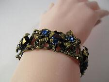 "Vintage 1930s CZECHOSLOVAKIA Czech Blue Glass Brass Flower Petals 7"" Bracelet"