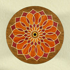 "Ornate Floral All Natural Wood Marquetry Coffee Coaster 3-1/2"" (C-14)"