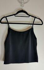 TESCO Womens Cami Size 16 Black Cropped Sleeveless Spaghetti Top Day Night Wear