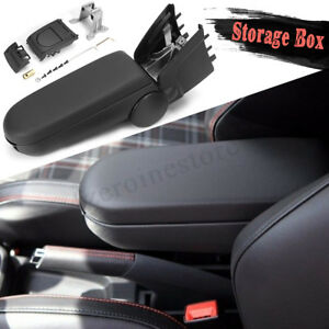 Leather Armrests Box Storage Case With Cup Holder For VW POLO MK8 VIII 6R   @ L