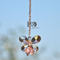 Window Hanging Rainbow Sun Catcher Pink Butterfly Crystal Pendulum Prisms Mobile