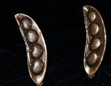 2 Vintage Metal Door Handles Knobs Pulls PEA PODS Ajax Made USA With Screws