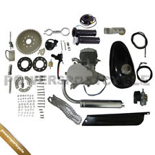 80cc 2-Stroke Engine Motor Kit for Motorized Bicycle Bike Motor Silver Pipe