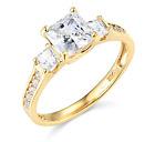 2.50 Ct Princess Cut Engagement Wedding Ring 3 Three Stone Solid 14K Yellow Gold