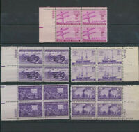 1944 US Mint NH Year Set #922 - 926 Complete Set of 5 PLATE # BLOCKS -Railroads