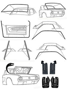 New! 1965 - 1966 Ford MUSTANG Deluxe Weatherstrip Seal Kit Windshield Roof Doors