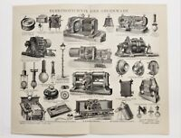 1885 Machinery Engraving Brockhaus Lexicon Double Page ORIGINAL