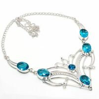 Superb Look Swiss Blue Topaz Gemstone 925 Silver Jewelry Necklaces Size 18''