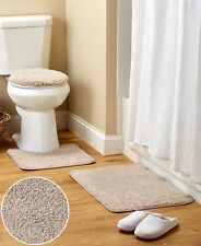 Nonslip Soft 3-Pc. Shaggy Bath Rug Sets-Bath Mat, Contour Rug, Lid Cover Set New