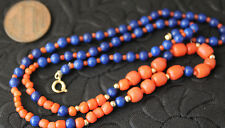 """Vintage 17"""" Necklace handmade coral beads,lapis 14k gold space beads & clasp"""