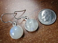 Round Moonstone Globes 925 Sterling Silver Dangle Earrings Corona Sun h121d
