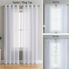 PAIR OF VOILE NET SLOT TOP ROD POCKET TAB TOP EYELET CURTAIN PANEL WITH TIE BACK