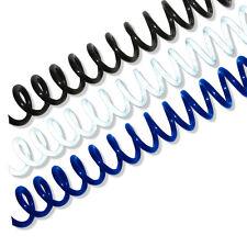 16mm 4:1 Plastic Spiral Binding Coil-100/box, Black, White, or Navy
