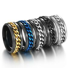 5-Colors 8mm Silver/Gold/Black/Blue Spinner Chain Bands Men Steel Ring Size 6-13