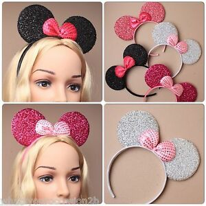 New Glitter & Sequin Minnie Mouse Ears & Bow Black Pink Hen Party Fancy Dress