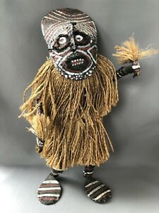 African Papier Mache Witch Doctor Tribal Sculpture Doll Grass Costume Red Black