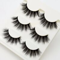 3Pairs Black Faux Mink Natural Cross Long Thick Eye Lashes Falsche Wimpern Best