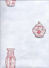 Red Oriental Vases Dotted On Light Blue Wallpaper HP70103