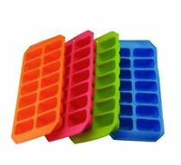 Set of 4 Silicone Ice Cube Maker Tray Mould Soft Splash Flexible Assorted Colour