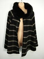 WOMENS NEXT SIZE L/XL BLACK GREY CHECK FAUX FUR COLLAR CAPE PONCHO JACKET COAT