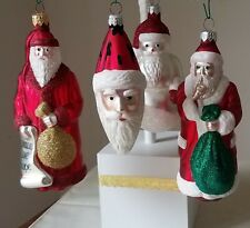 Patricia Breen A Set of 4 Red Ornaments, 3 Santas and Snowman Santa
