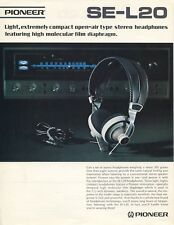 Pioneer SE-L20 Original Stereo Headphone Spec Sheet Brochure 1972