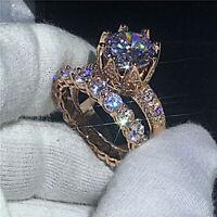 Real 10k Rose Gold 4 Ct Diamond Crown Engagement Ring Wedding Band Bridal Set