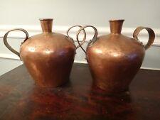 Antique Pair 18thC Copper Whiskey Still Jugs One Maker Moonshine Decanter Bottle