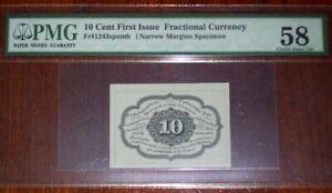 FR.1243 SP NMB 1st Issue 10 cent Narrow Margins Back Specimen PMG-Ch. AU58