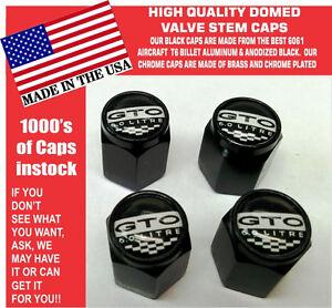 Billet Aluminum Pontiac GTO 6.0  LS2 Black Valve Stem Caps Quality Metal