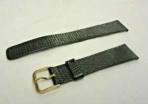 Vintage SEIKO Genuine Calfskin Black Watch Band Strap 18MM Unused D