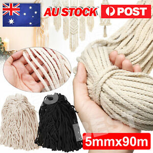 5mm 90m Natural beige Cotton Rope Cord  String Twisted Craft Macrame Artisan