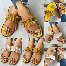 Women Lady Pineapple Pattern Slippers Casual Sandals Toe Ring Shoes Casual Flat