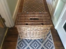 Vintage wicker creel fishing box basket